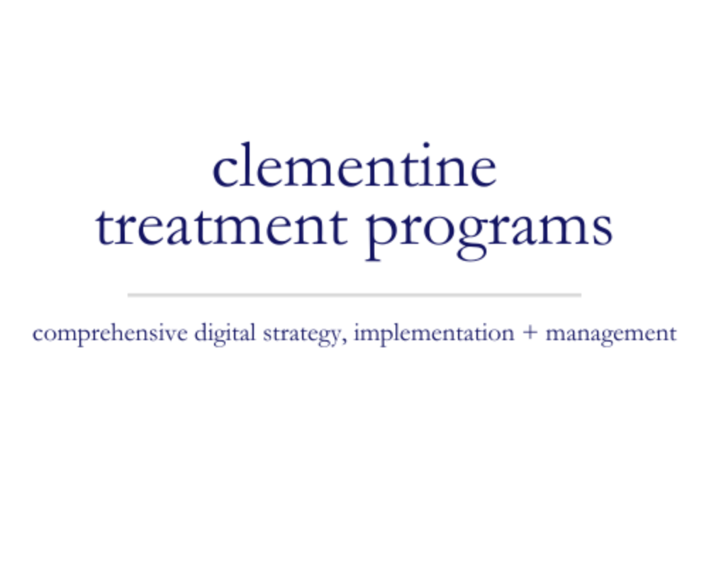 Clementine Treatment Programs | comprehensive digital strategy, coordination + implementation